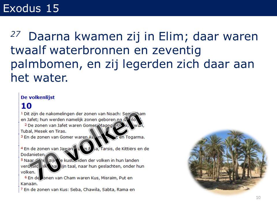 Exodus 15 27 Daarna kwamen zij in Elim; daar waren twaalf waterbronnen en zeventig palmbomen, en zij legerden zich daar aan het water. 10