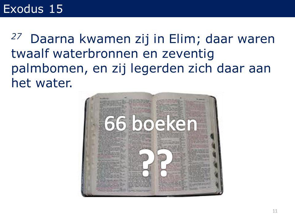 Exodus 15 27 Daarna kwamen zij in Elim; daar waren twaalf waterbronnen en zeventig palmbomen, en zij legerden zich daar aan het water. 11