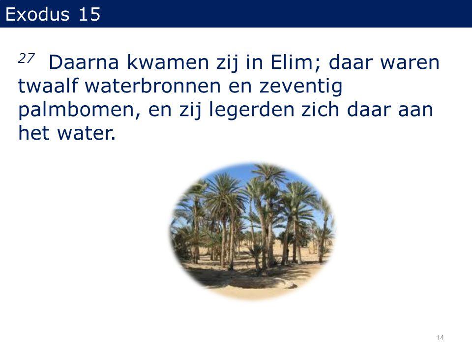 Exodus 15 27 Daarna kwamen zij in Elim; daar waren twaalf waterbronnen en zeventig palmbomen, en zij legerden zich daar aan het water. 14