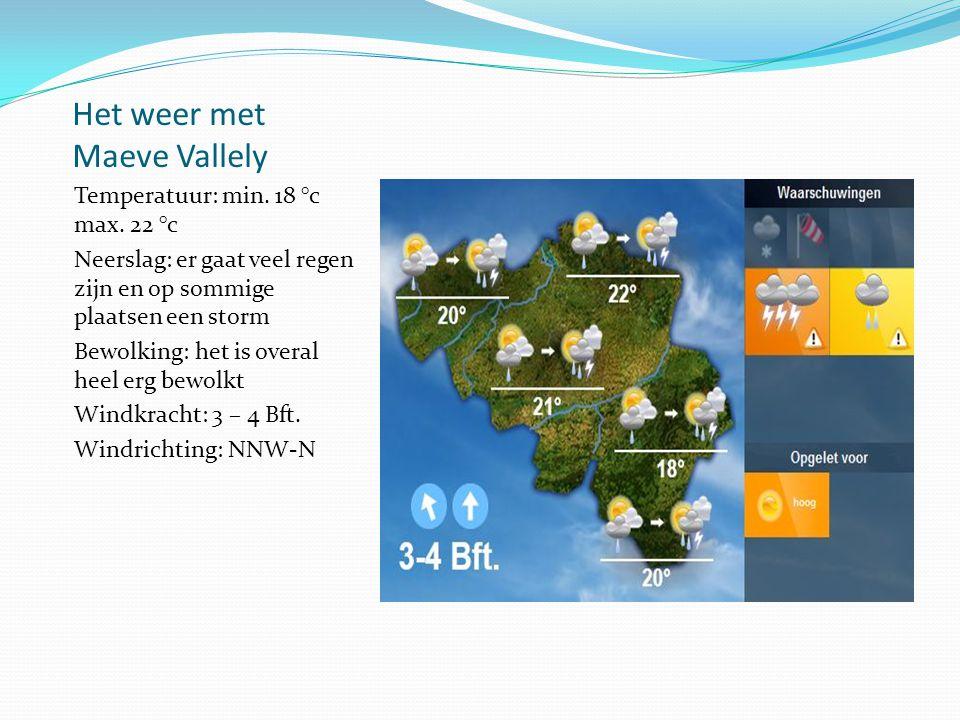Het weer met Maeve Vallely Temperatuur: min. 18 °c max.