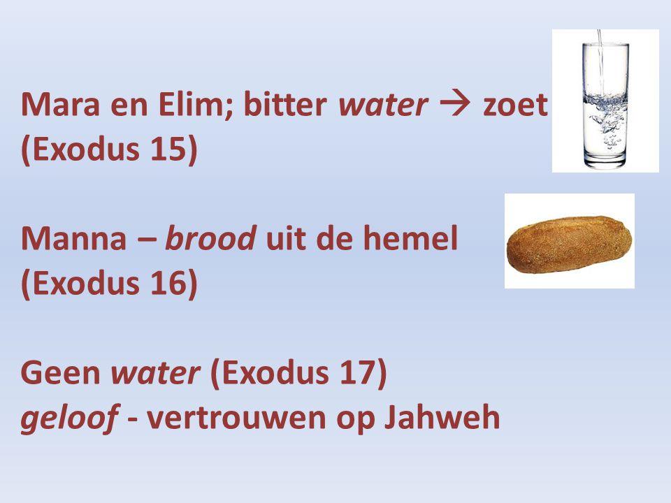 Mara en Elim; bitter water  zoet (Exodus 15) Manna – brood uit de hemel (Exodus 16) Geen water (Exodus 17) geloof - vertrouwen op Jahweh