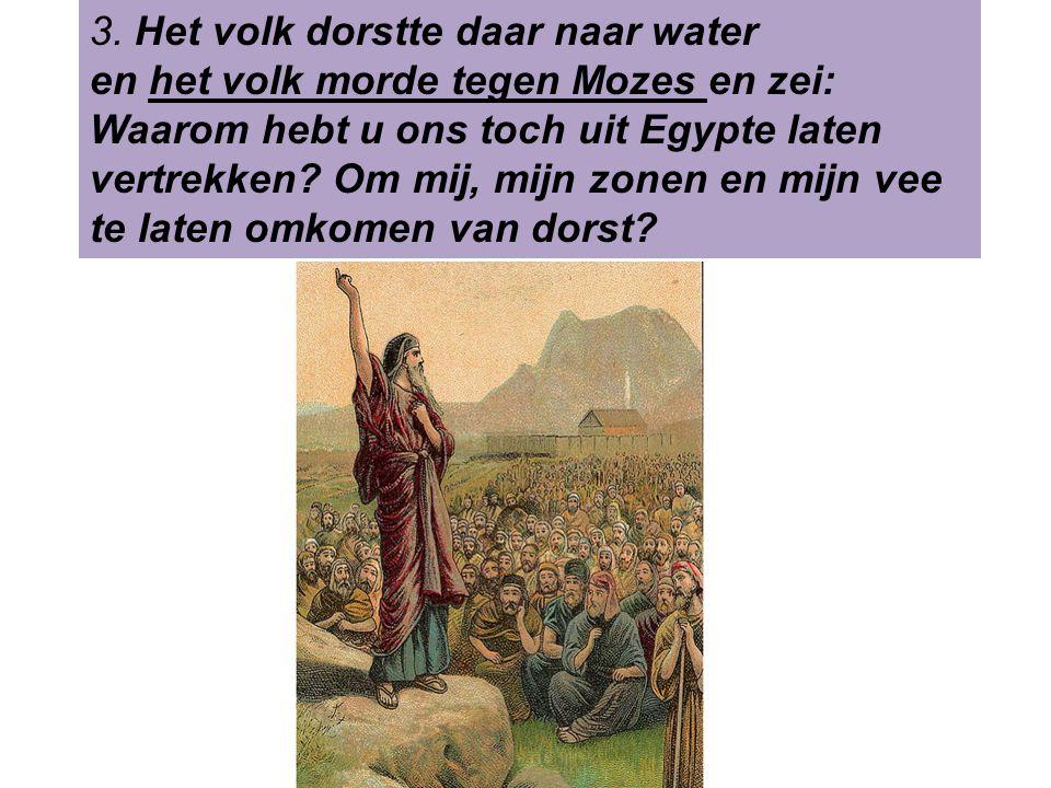 3. Het volk dorstte daar naar water en het volk morde tegen Mozes en zei: Waarom hebt u ons toch uit Egypte laten vertrekken? Om mij, mijn zonen en mi