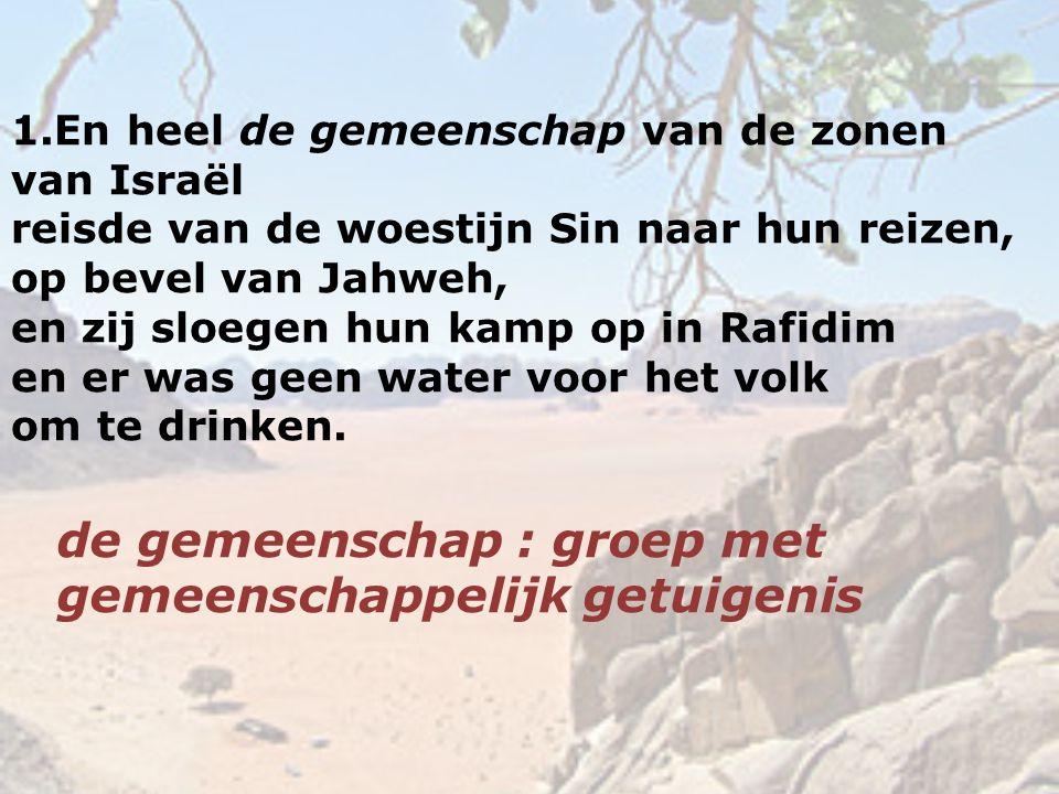 1.En heel de gemeenschap van de zonen van Israël reisde van de woestijn Sin naar hun reizen, op bevel van Jahweh, en zij sloegen hun kamp op in Rafidi