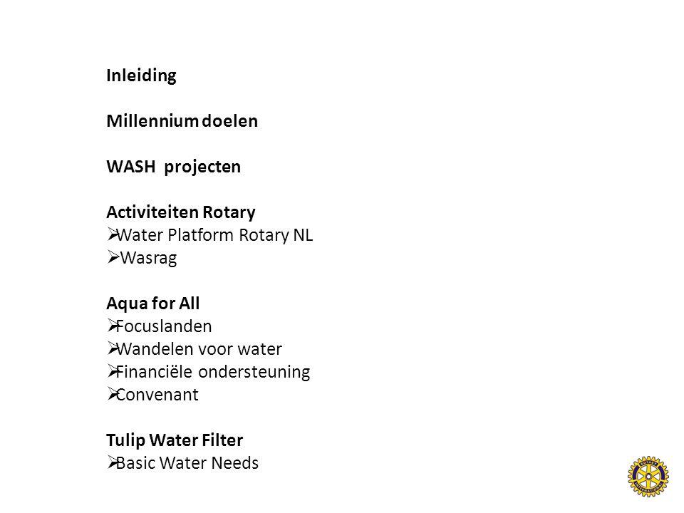 Inleiding Millennium doelen WASH projecten Activiteiten Rotary  Water Platform Rotary NL  Wasrag Aqua for All  Focuslanden  Wandelen voor water  Financiële ondersteuning  Convenant Tulip Water Filter  Basic Water Needs