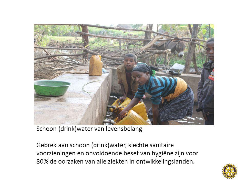 Schoon (drink)water van levensbelang Gebrek aan schoon (drink)water, slechte sanitaire voorzieningen en onvoldoende besef van hygiëne zijn voor 80% de oorzaken van alle ziekten in ontwikkelingslanden.