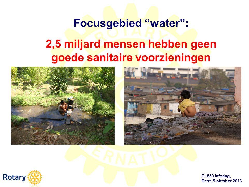 """D1550 Infodag, Best, 5 oktober 2013 Focusgebied """"water"""": 2,5 miljard mensen hebben geen goede sanitaire voorzieningen"""
