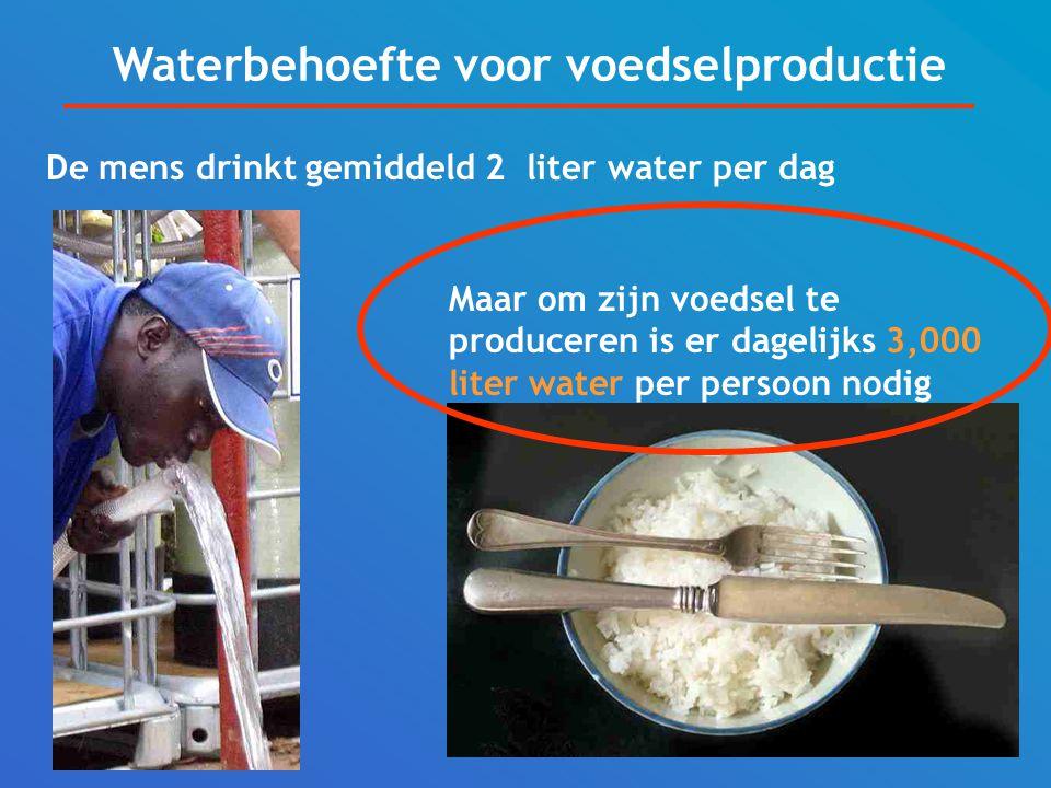 De mens drinkt gemiddeld 2 liter water per dag Maar om zijn voedsel te produceren is er dagelijks 3,000 liter water per persoon nodig Waterbehoefte voor voedselproductie