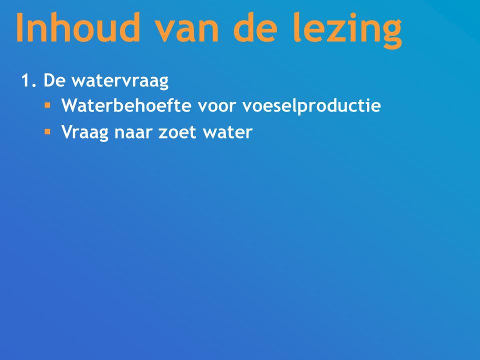 Inhoud van de lezing 1. De watervraag  Waterbehoefte voor voeselproductie  Vraag naar zoet water