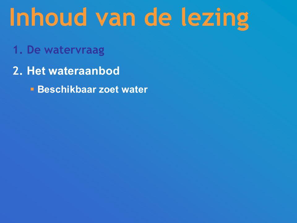 1. De watervraag 2. Het wateraanbod  Beschikbaar zoet water Inhoud van de lezing