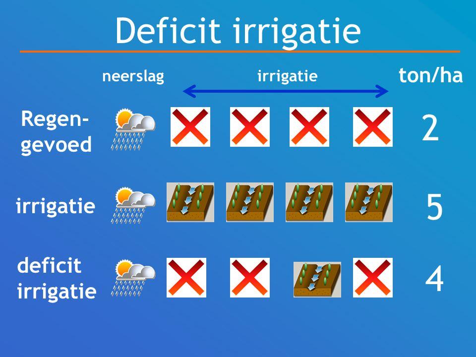 Deficit irrigatie Regen- gevoed irrigatie deficit irrigatie ton/ha 2 5 4 neerslagirrigatie