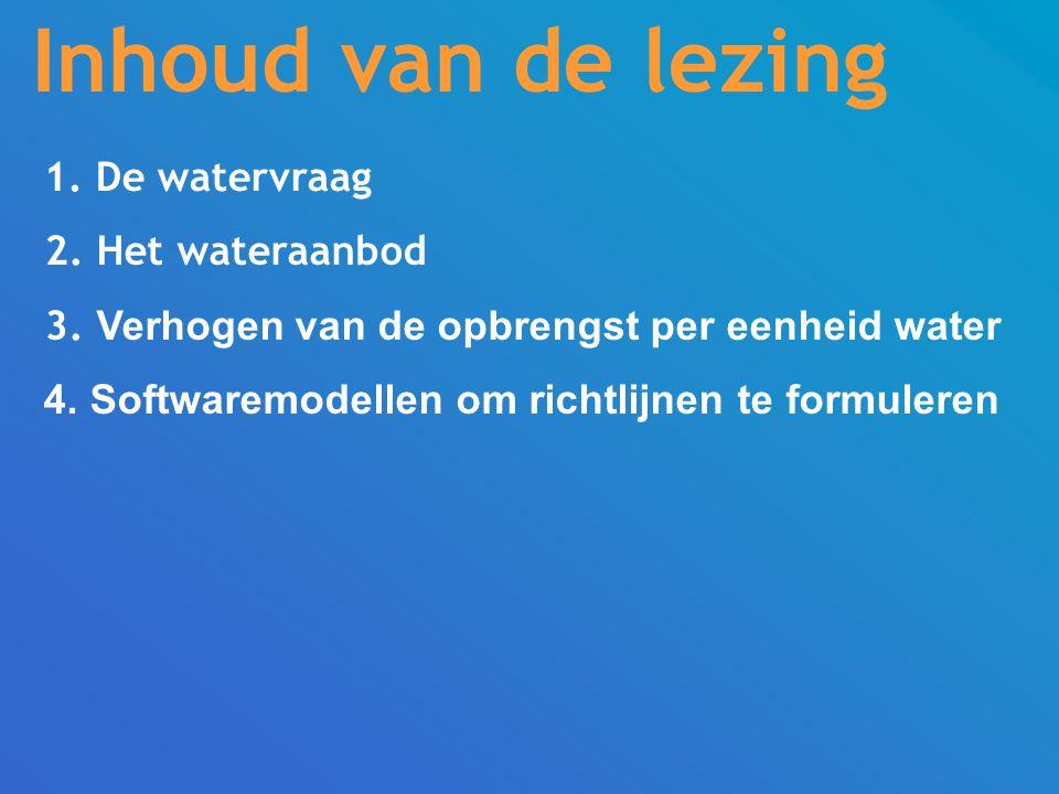 Inhoud van de lezing 1.De watervraag 2. Het wateraanbod 3.