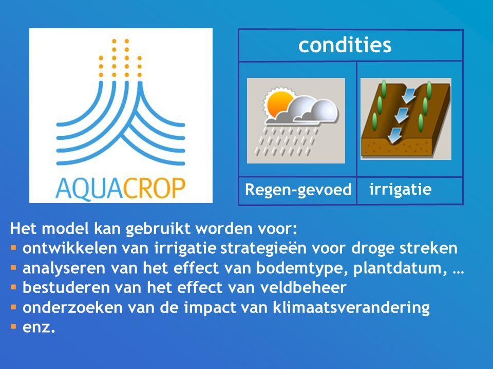 Het model kan gebruikt worden voor:  ontwikkelen van irrigatie strategieën voor droge streken  analyseren van het effect van bodemtype, plantdatum, …  bestuderen van het effect van veldbeheer  onderzoeken van de impact van klimaatsverandering  enz.