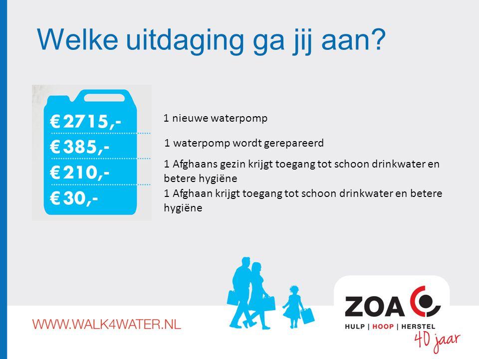 Welke uitdaging ga jij aan? 1 nieuwe waterpomp 1 waterpomp wordt gerepareerd 1 Afghaans gezin krijgt toegang tot schoon drinkwater en betere hygiëne 1