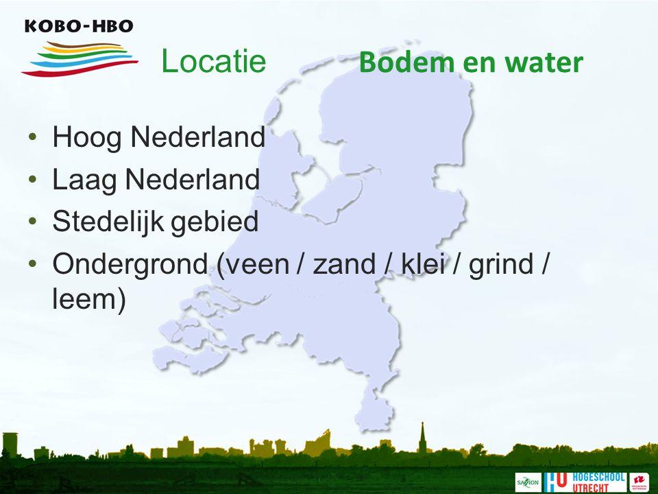 Locatie Bodem en water Hoog Nederland Laag Nederland Stedelijk gebied Ondergrond (veen / zand / klei / grind / leem)
