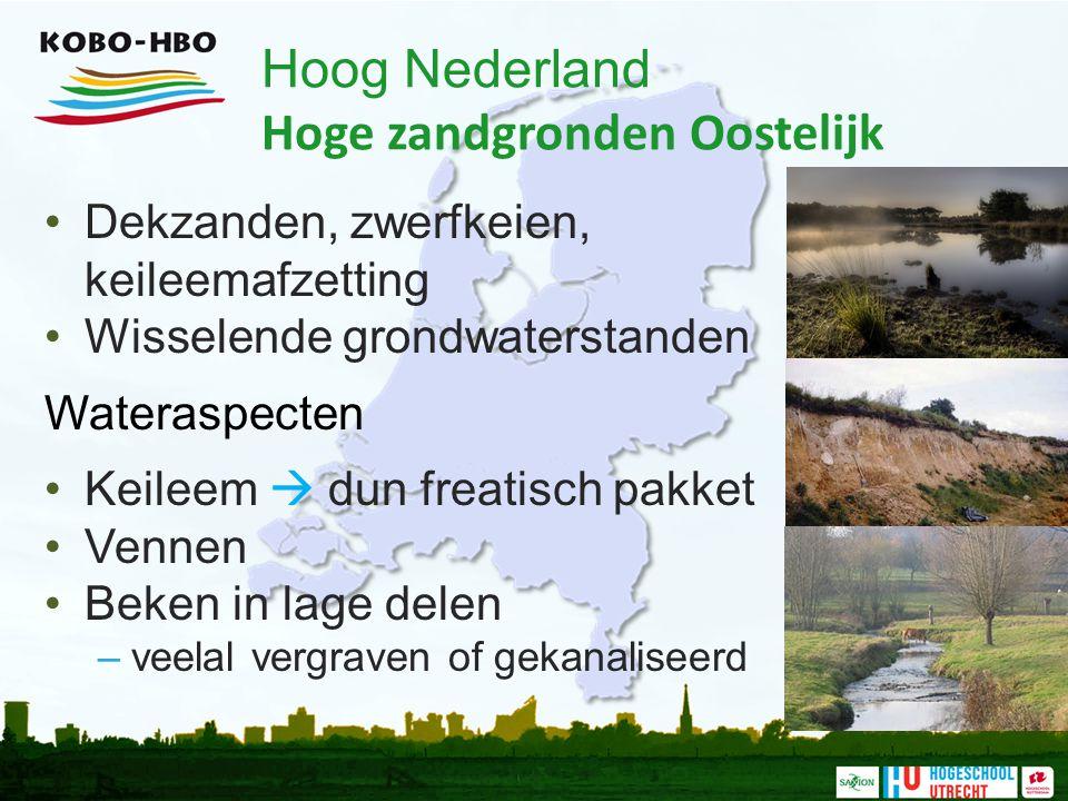 Hoog Nederland Hoge zandgronden Oostelijk Dekzanden, zwerfkeien, keileemafzetting Wisselende grondwaterstanden Wateraspecten Keileem  dun freatisch p