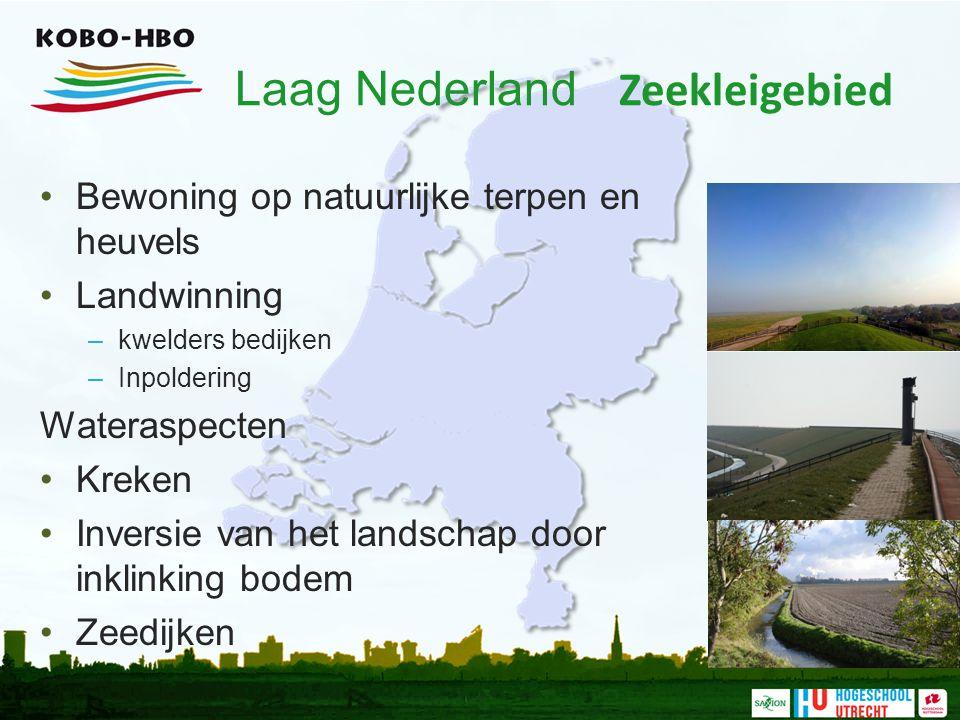 Laag Nederland Zeekleigebied Bewoning op natuurlijke terpen en heuvels Landwinning –kwelders bedijken –Inpoldering Wateraspecten Kreken Inversie van h