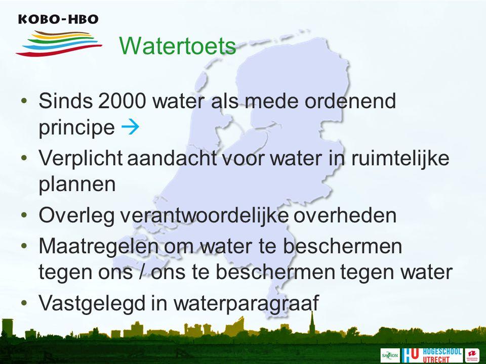 Watertoets Sinds 2000 water als mede ordenend principe  Verplicht aandacht voor water in ruimtelijke plannen Overleg verantwoordelijke overheden Maat