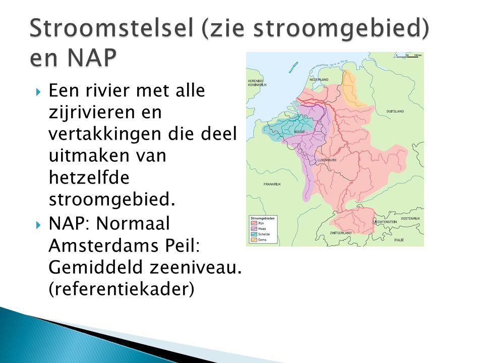  Een rivier met alle zijrivieren en vertakkingen die deel uitmaken van hetzelfde stroomgebied.  NAP: Normaal Amsterdams Peil: Gemiddeld zeeniveau. (