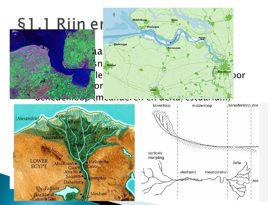  Rivieren bestaan altijd uit: ◦ Bovenloop (insnijding landschap, V-vorm) ◦ Middenloop (vlechtend en meanderen rivier, door verlaging stroomsnelheid).