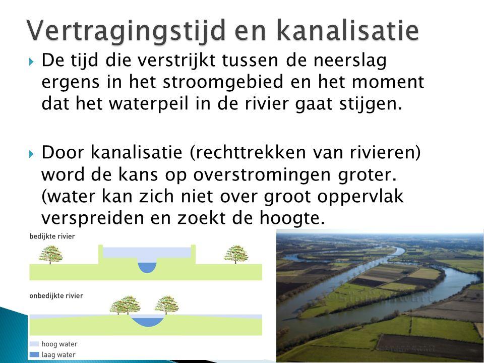  De tijd die verstrijkt tussen de neerslag ergens in het stroomgebied en het moment dat het waterpeil in de rivier gaat stijgen.  Door kanalisatie (