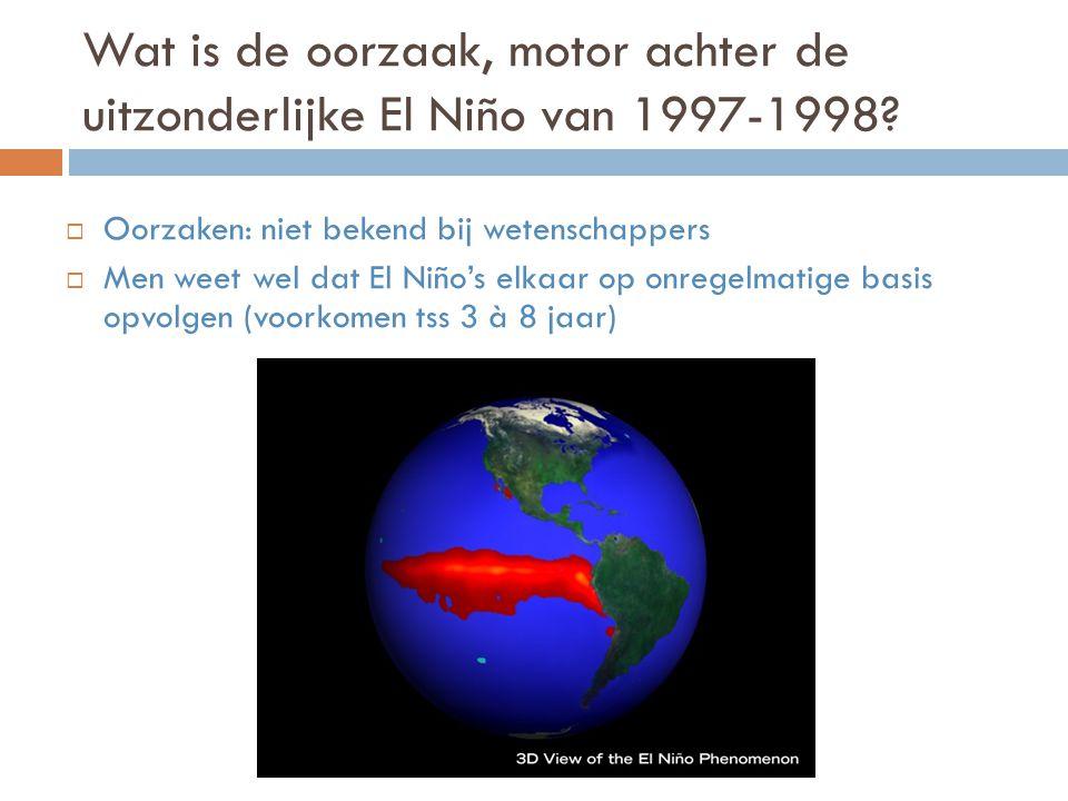 Wat is de oorzaak, motor achter de uitzonderlijke El Niño van 1997-1998.