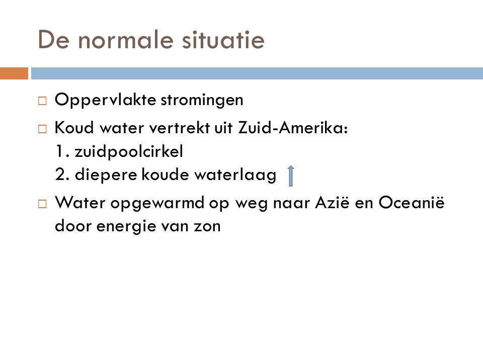 De normale situatie  Oppervlakte stromingen  Koud water vertrekt uit Zuid-Amerika: 1.