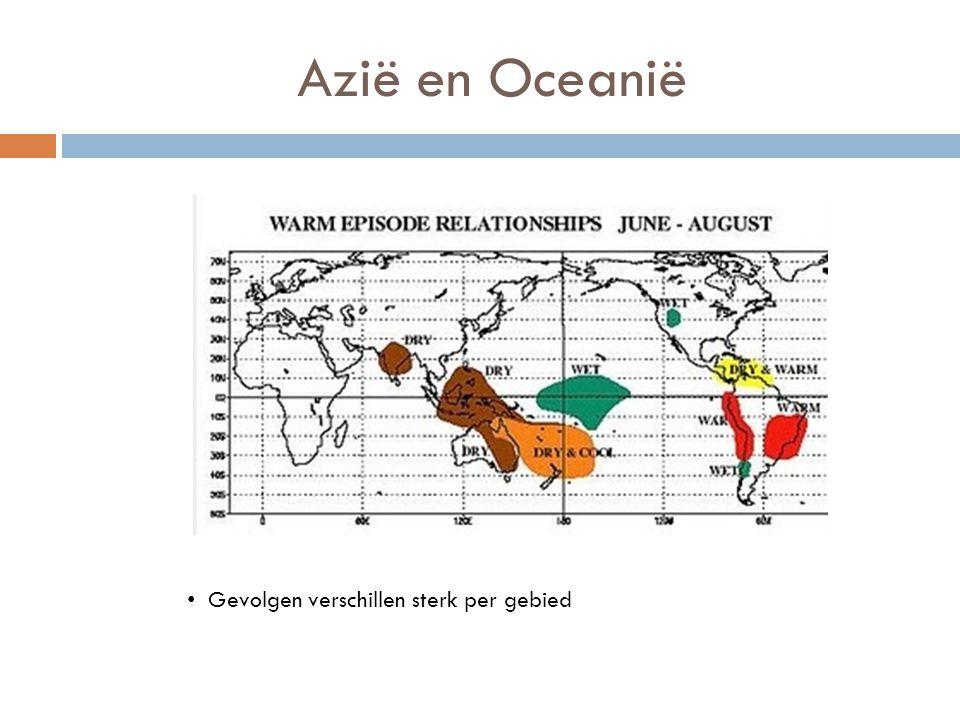 Azië en Oceanië Gevolgen verschillen sterk per gebied