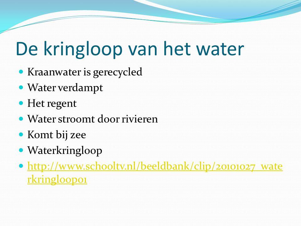 De kringloop van het water Kraanwater is gerecycled Water verdampt Het regent Water stroomt door rivieren Komt bij zee Waterkringloop http://www.schoo