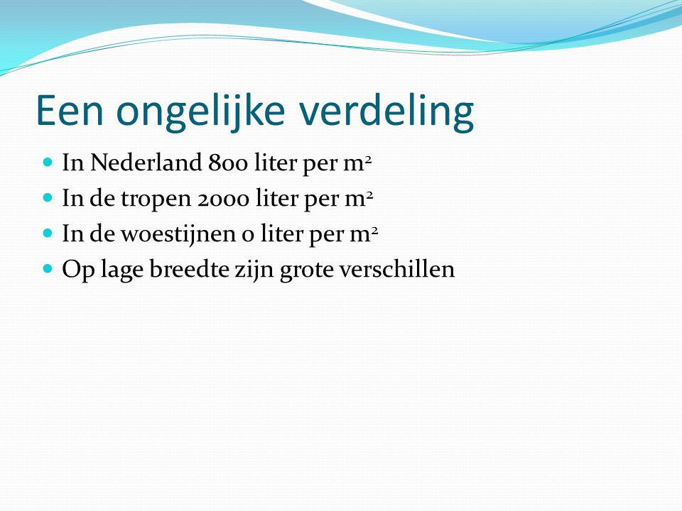 Een ongelijke verdeling In Nederland 800 liter per m 2 In de tropen 2000 liter per m 2 In de woestijnen 0 liter per m 2 Op lage breedte zijn grote ver