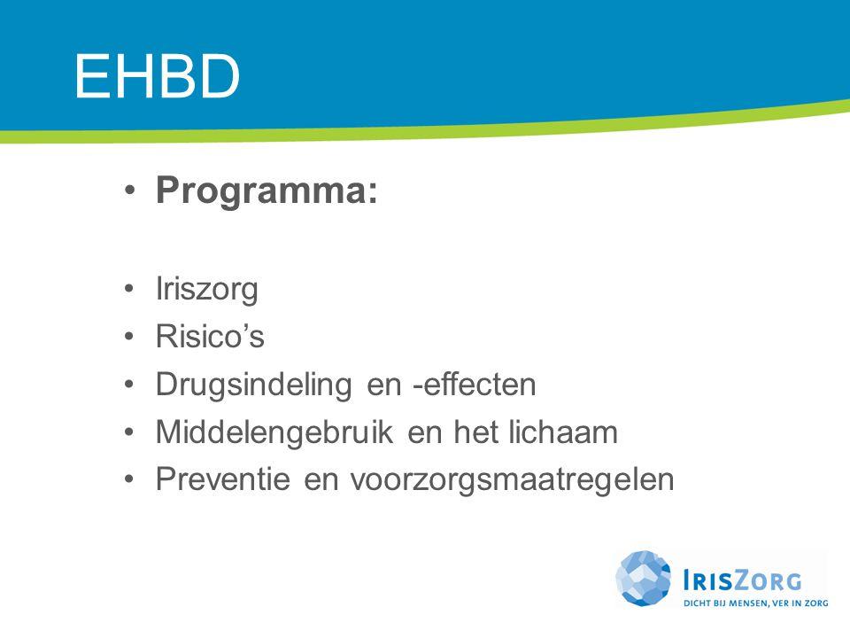 EHBD Programma: Iriszorg Risico's Drugsindeling en -effecten Middelengebruik en het lichaam Preventie en voorzorgsmaatregelen