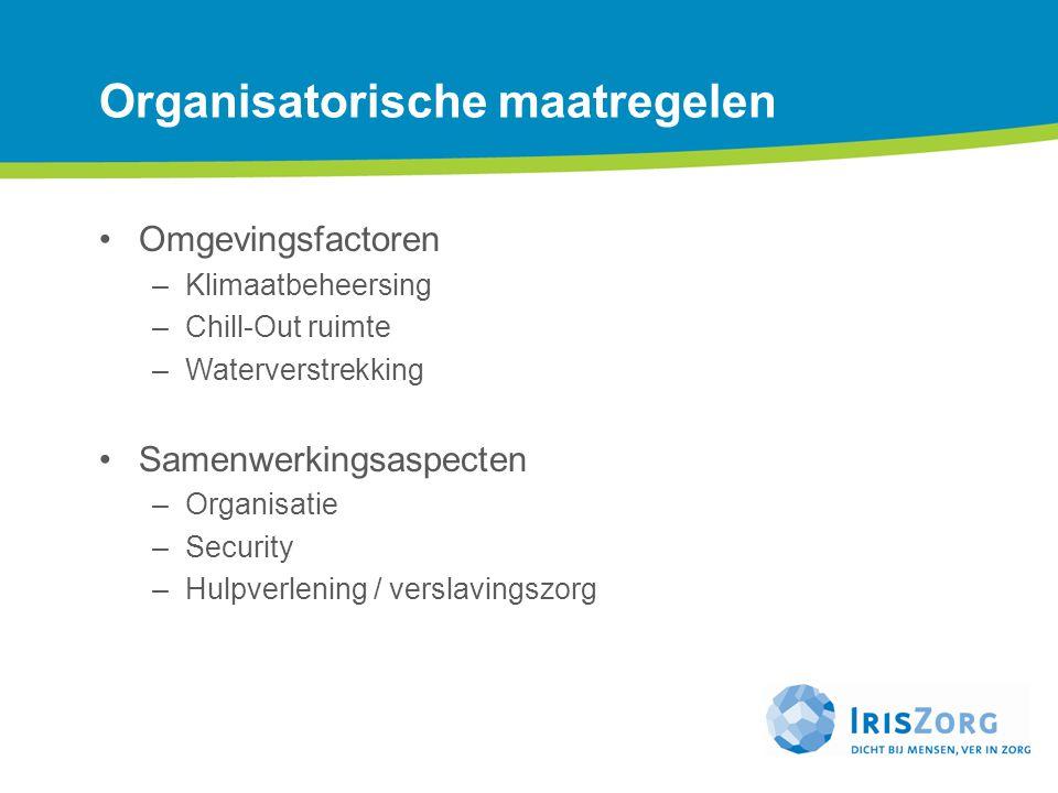 Organisatorische maatregelen Omgevingsfactoren –Klimaatbeheersing –Chill-Out ruimte –Waterverstrekking Samenwerkingsaspecten –Organisatie –Security –H