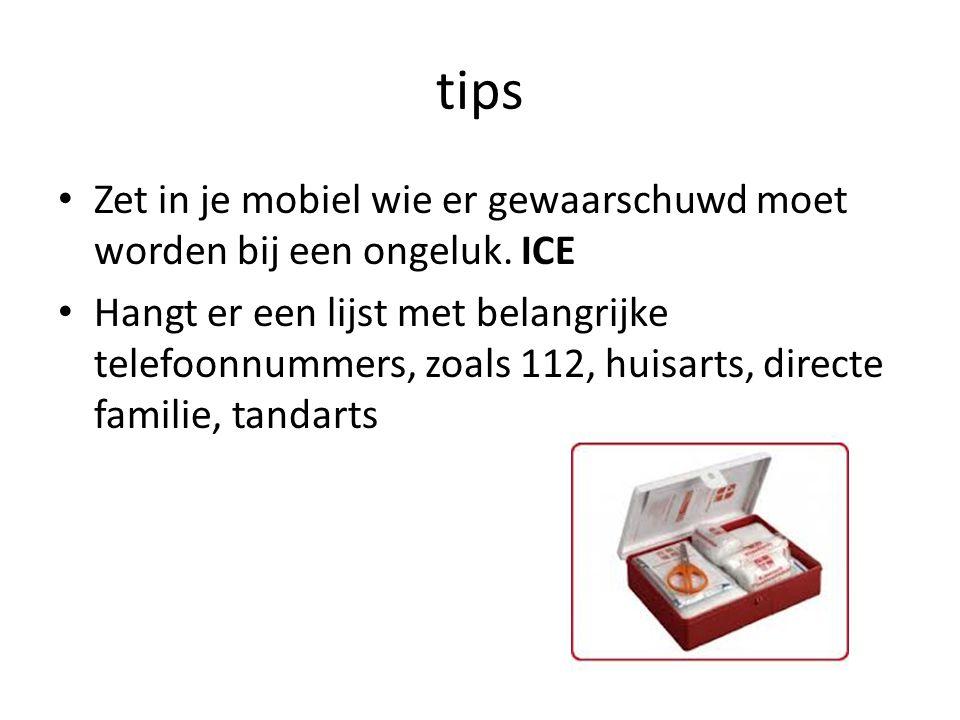 tips Zet in je mobiel wie er gewaarschuwd moet worden bij een ongeluk.