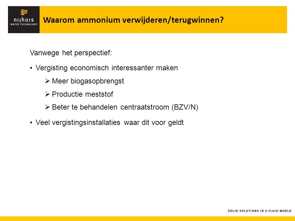 Vanwege het perspectief: Vergisting economisch interessanter maken  Meer biogasopbrengst  Productie meststof  Beter te behandelen centraatstroom (B