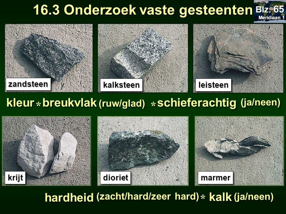 zandsteenzandsteen kalksteenkalksteenleisteenleisteen krijtkrijtdiorietdiorietmarmermarmer breukvlak schieferachtig (ja/neen) kleur * * (ruw/glad) * * hardheid (zacht/hard/zeer hard) * * kalk (ja/neen) Meridiaan 1 Meridiaan 1 Blz.
