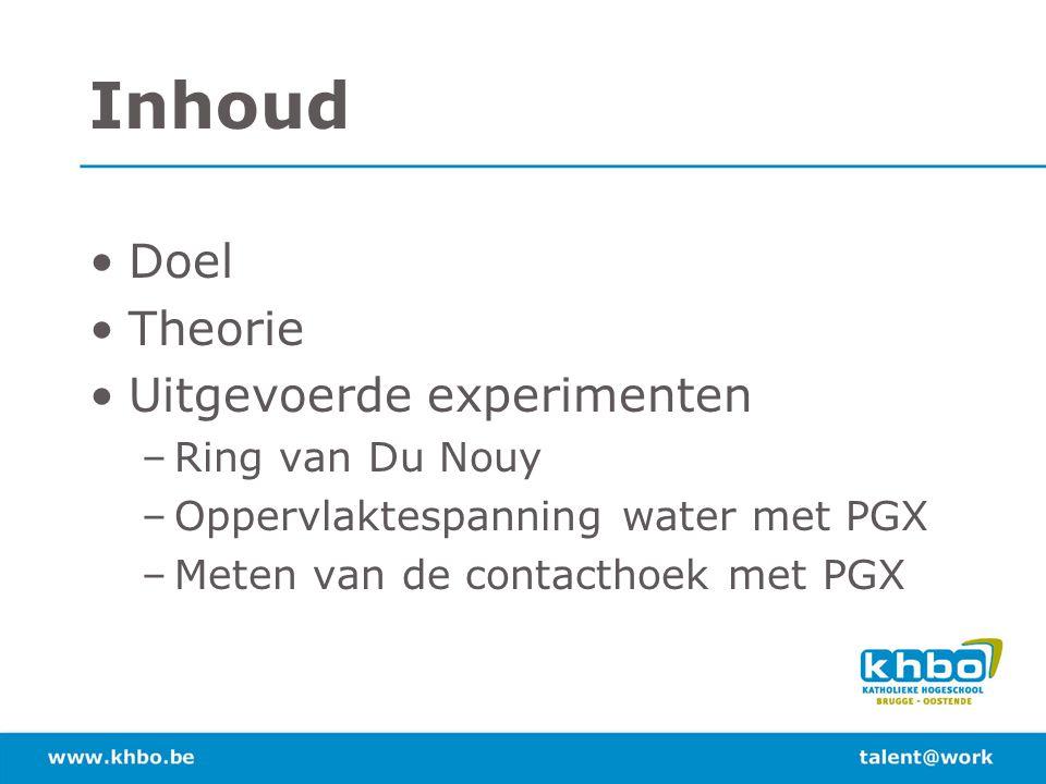 Inhoud Doel Theorie Uitgevoerde experimenten –Ring van Du Nouy –Oppervlaktespanning water met PGX –Meten van de contacthoek met PGX