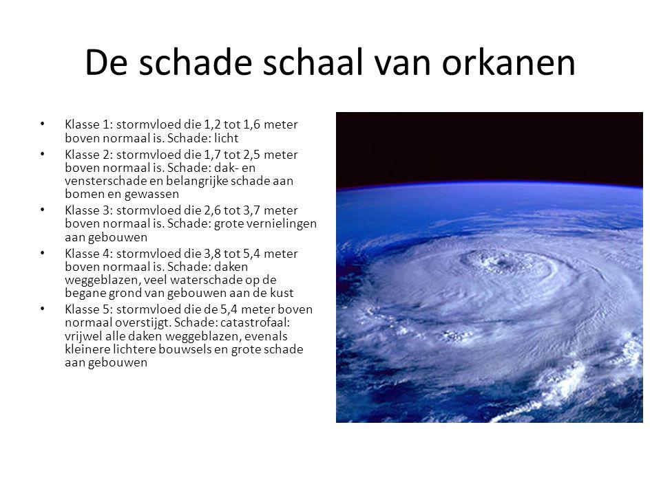 De schade schaal van orkanen Klasse 1: stormvloed die 1,2 tot 1,6 meter boven normaal is. Schade: licht Klasse 2: stormvloed die 1,7 tot 2,5 meter bov