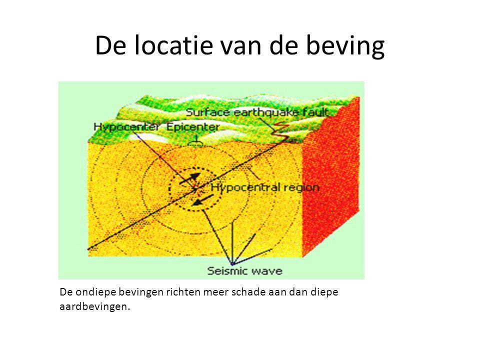 De locatie van de beving De ondiepe bevingen richten meer schade aan dan diepe aardbevingen.