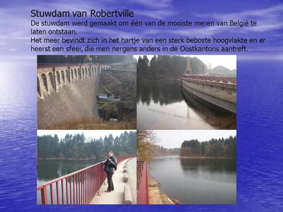 Stuwdam van Robertville De stuwdam werd gemaakt om één van de mooiste meren van België te laten ontstaan. Het meer bevindt zich in het hartje van een