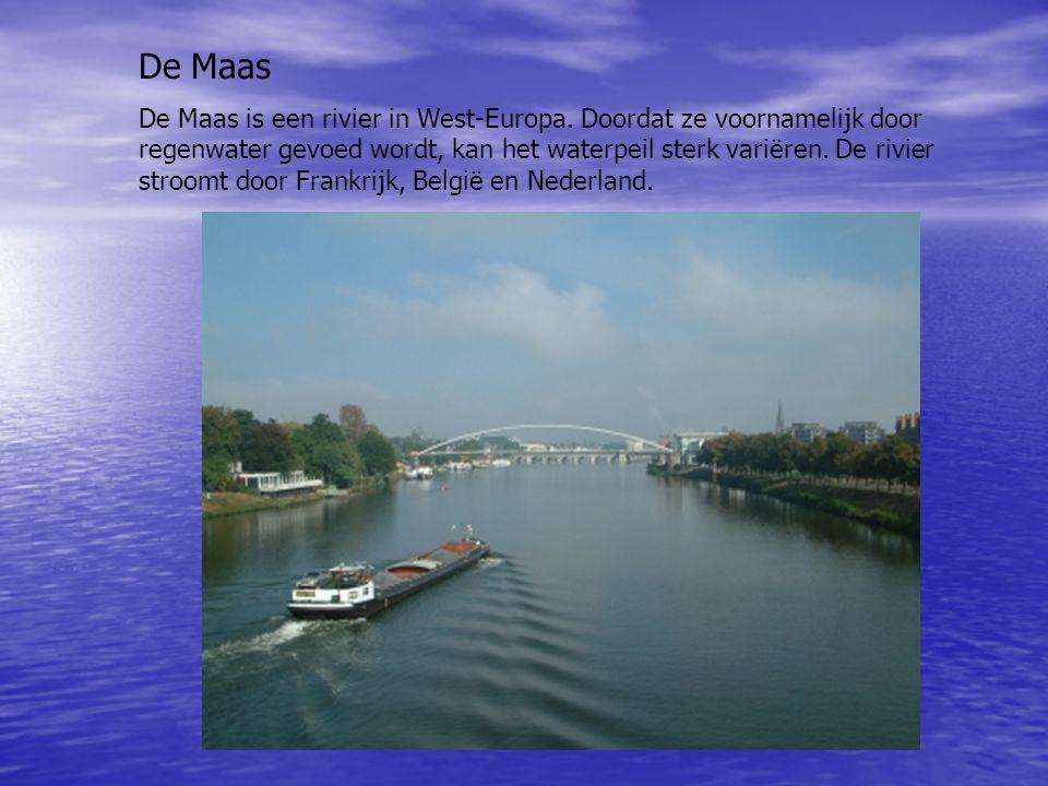 De Maas De Maas is een rivier in West-Europa. Doordat ze voornamelijk door regenwater gevoed wordt, kan het waterpeil sterk variëren. De rivier stroom