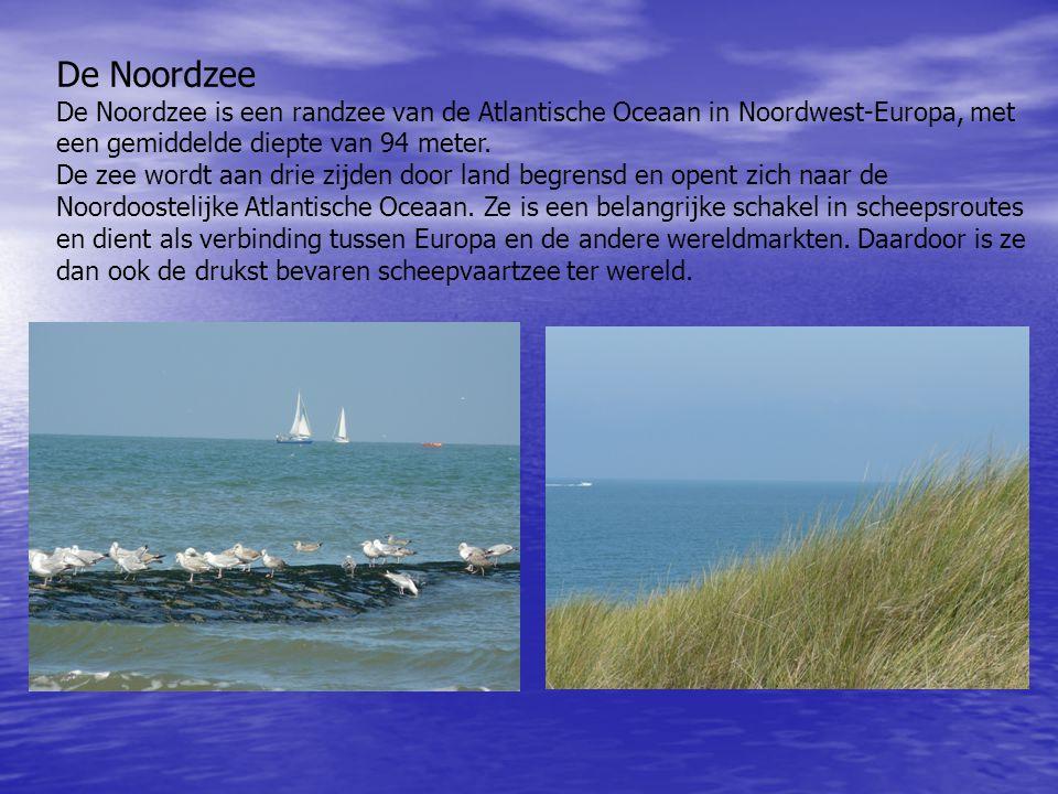 De Noordzee De Noordzee is een randzee van de Atlantische Oceaan in Noordwest-Europa, met een gemiddelde diepte van 94 meter. De zee wordt aan drie zi