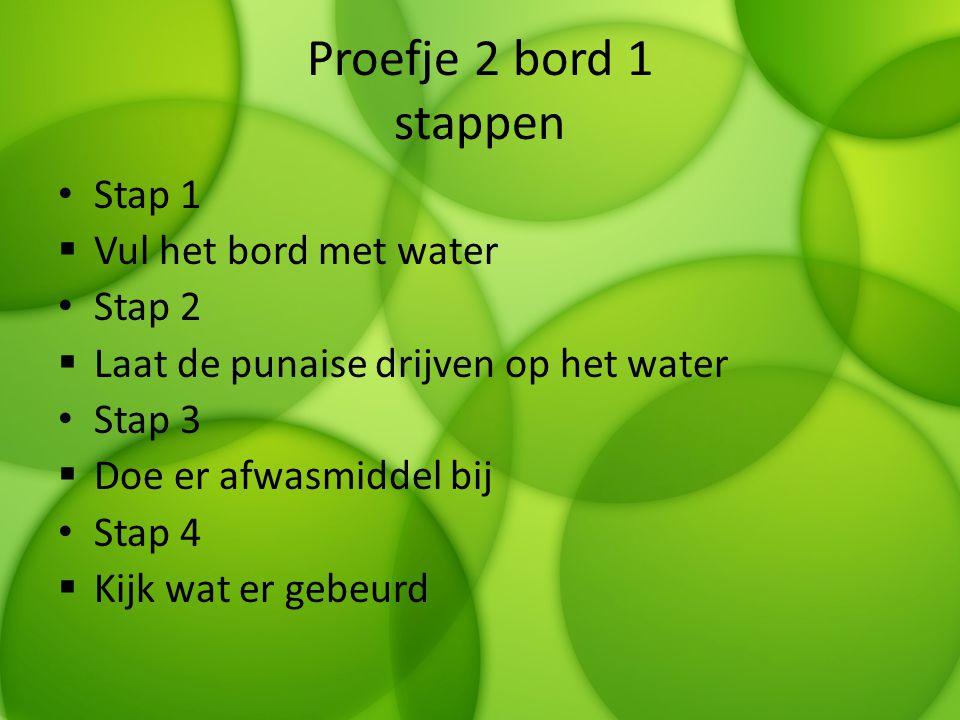 Proefje 2 bord 1 stappen Stap 1  Vul het bord met water Stap 2  Laat de punaise drijven op het water Stap 3  Doe er afwasmiddel bij Stap 4  Kijk w