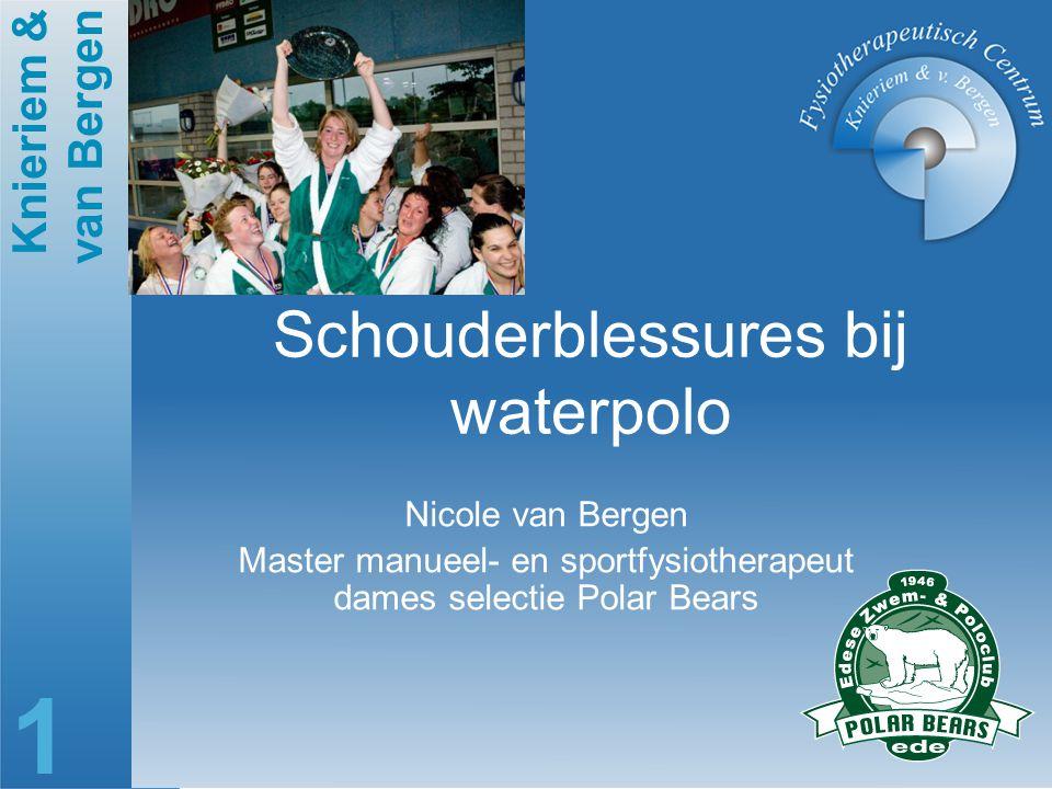 Knieriem & van Bergen 1 Schouderblessures bij waterpolo Nicole van Bergen Master manueel- en sportfysiotherapeut dames selectie Polar Bears