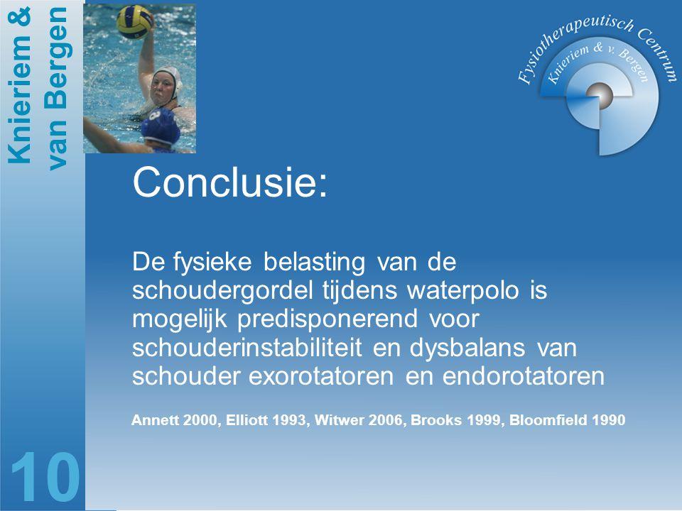 Knieriem & van Bergen 10 Conclusie: De fysieke belasting van de schoudergordel tijdens waterpolo is mogelijk predisponerend voor schouderinstabiliteit