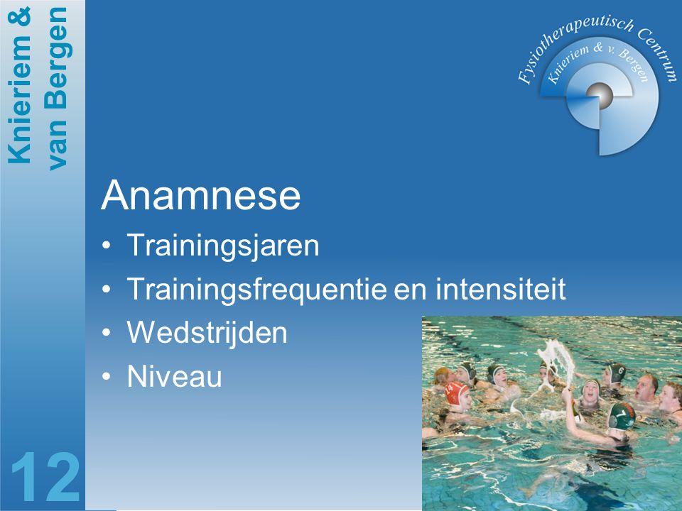 Knieriem & van Bergen 12 Anamnese Trainingsjaren Trainingsfrequentie en intensiteit Wedstrijden Niveau