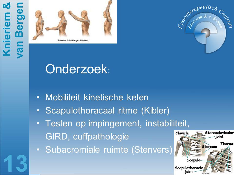 Knieriem & van Bergen 13 Onderzoek : Mobiliteit kinetische keten Scapulothoracaal ritme (Kibler) Testen op impingement, instabiliteit, GIRD, cuffpatho