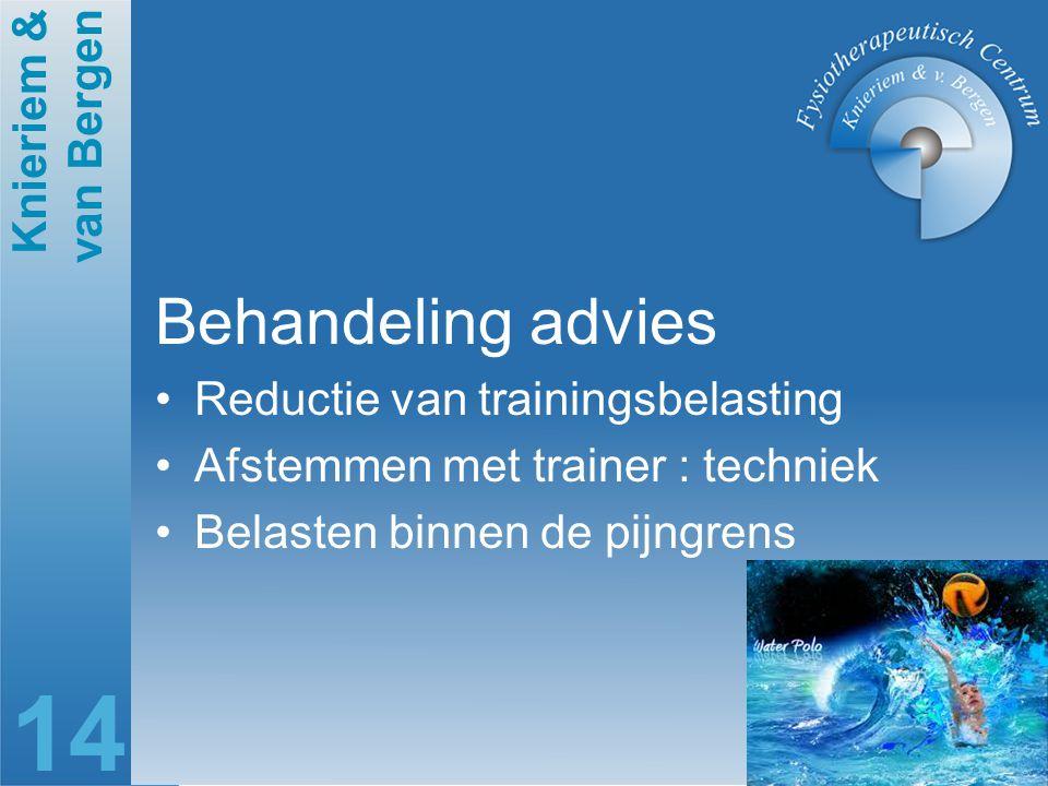Knieriem & van Bergen 14 Behandeling advies Reductie van trainingsbelasting Afstemmen met trainer : techniek Belasten binnen de pijngrens
