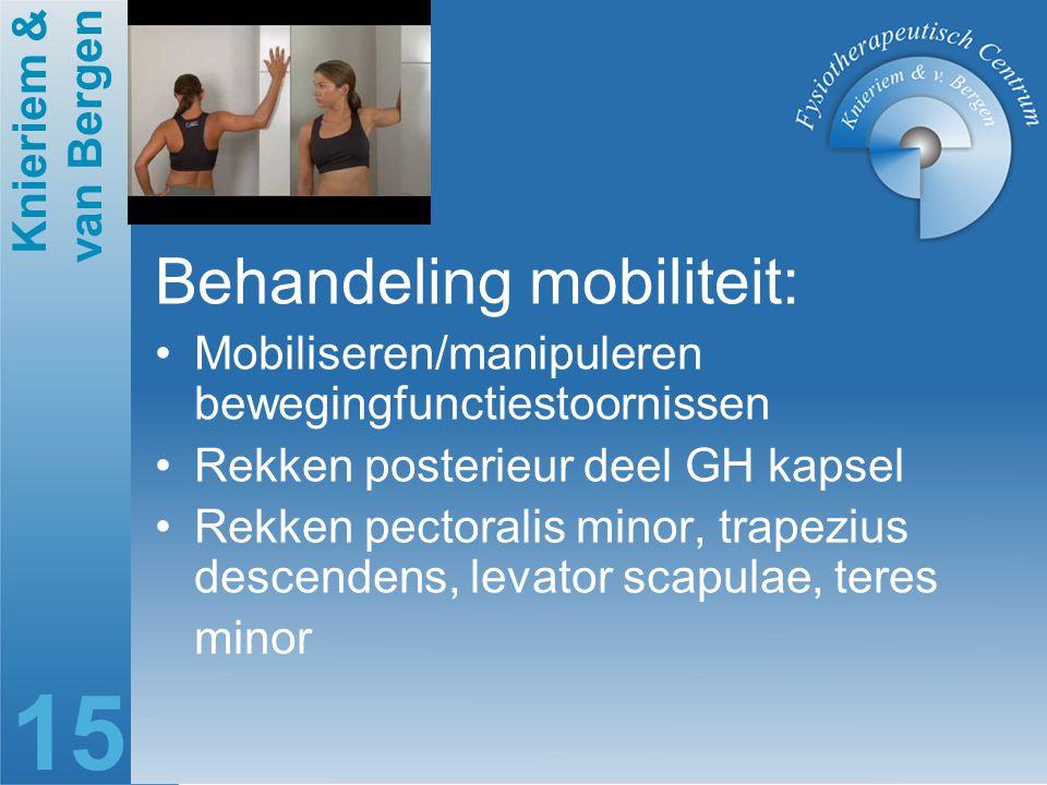 Knieriem & van Bergen 15 Behandeling mobiliteit: Mobiliseren/manipuleren bewegingfunctiestoornissen Rekken posterieur deel GH kapsel Rekken pectoralis