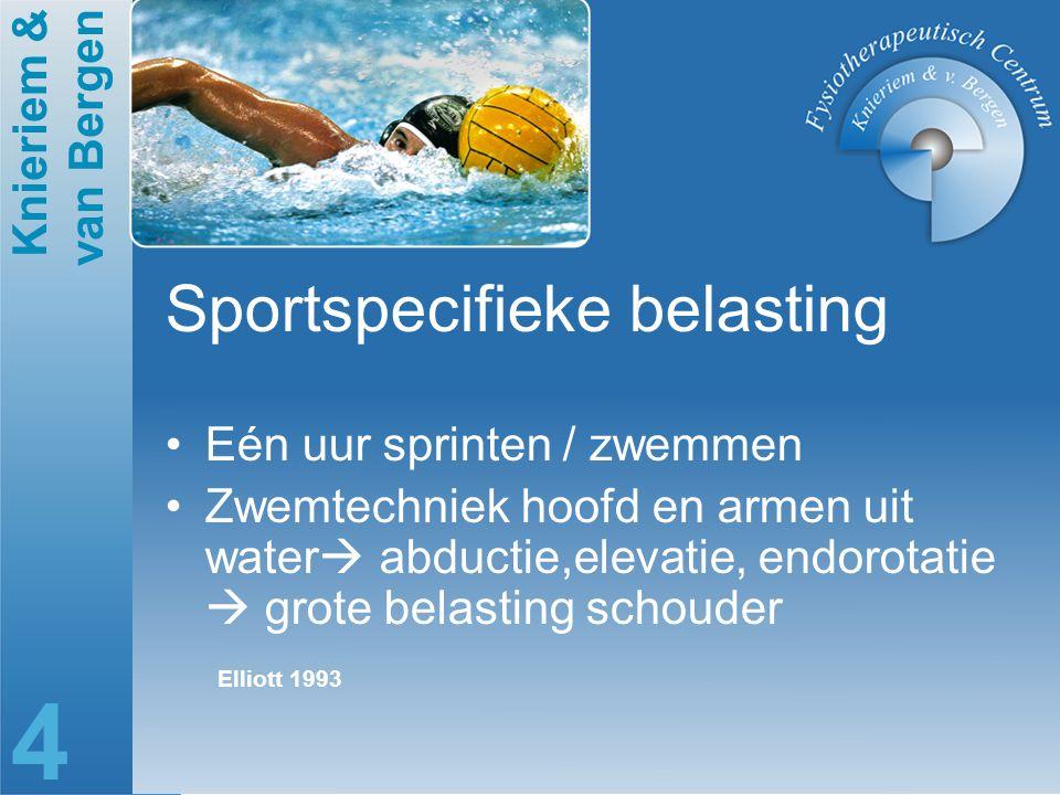 Knieriem & van Bergen 4 Sportspecifieke belasting Eén uur sprinten / zwemmen Zwemtechniek hoofd en armen uit water  abductie,elevatie, endorotatie 