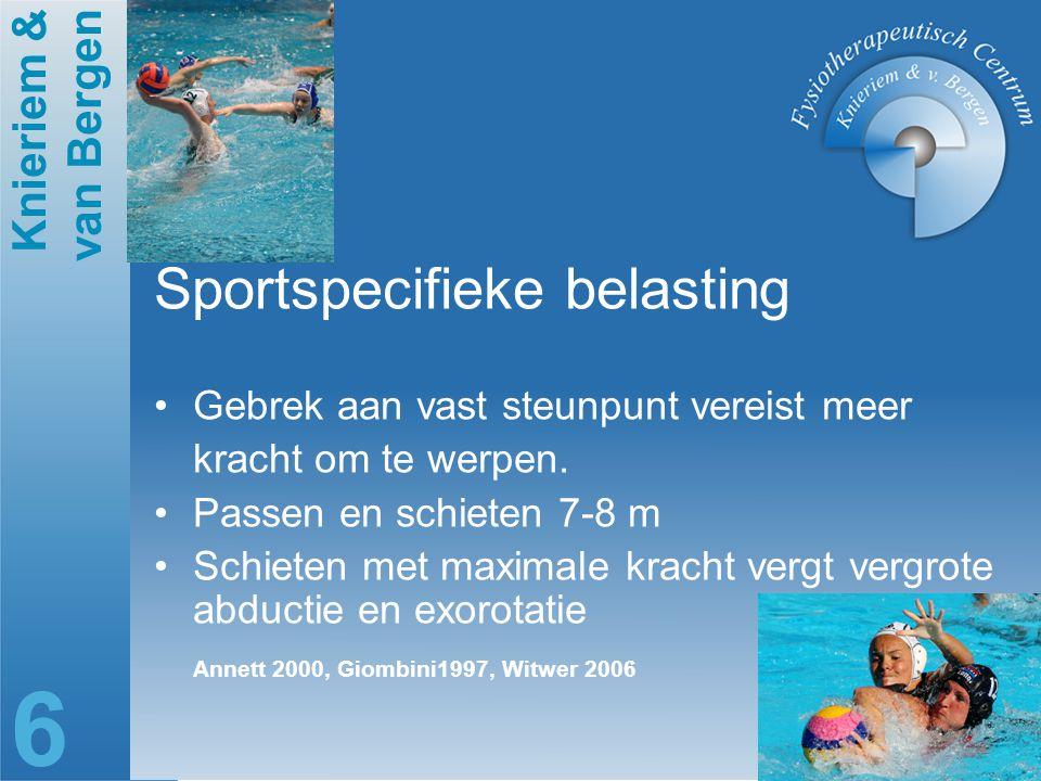 Knieriem & van Bergen 6 Sportspecifieke belasting Gebrek aan vast steunpunt vereist meer kracht om te werpen. Passen en schieten 7-8 m Schieten met ma
