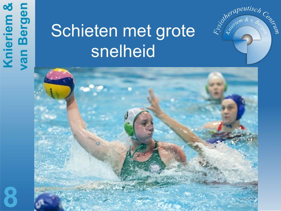 Knieriem & van Bergen 9 Schietsnelheid 16.6—19.7 m/s Smith 1998 Het blokken van de bal heeft aanzienlijke impact op de schouder Annett 2000